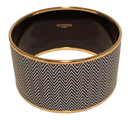 hermes-zig-zag-black-and-white-gold-enamel-bangle-bracelet