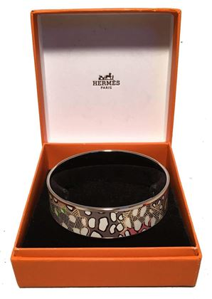 hermes-multicolor-abstract-print-silver-bangle-enamel-bracelet