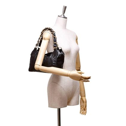chanel-black-leather-fold-top-gold-chain-strap-tote-bag