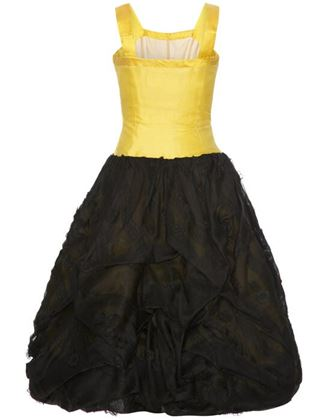 1950s-unlabelled-oscar-de-la-renta-yellow-black-silk-bubble-dress-size-4-2