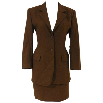 prada-brown-wool-skirt-suit
