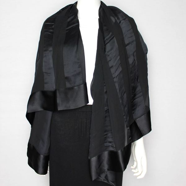 Lanvin New Xxl Square Black Silk Scarf