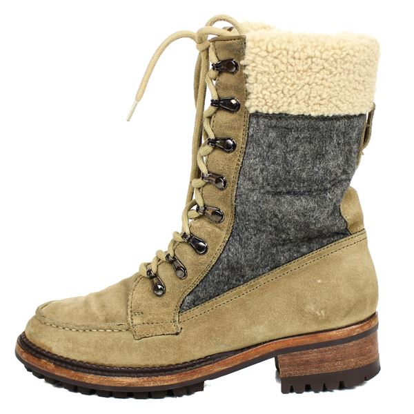 Chanel Shearling Combat Boots