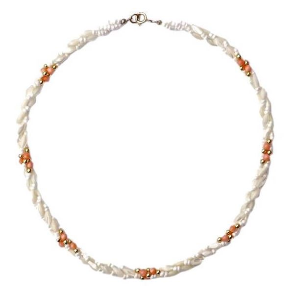 1970s Twisted Triple Strand Coral Mother-of-Pearl Bead Vintage Necklace