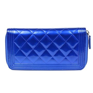 Chanel Boy Wallet - New - Blue Patent Leather Zip Around With Box