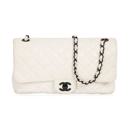 Chanel Vintage White Quilted Leather Shoulder Bag