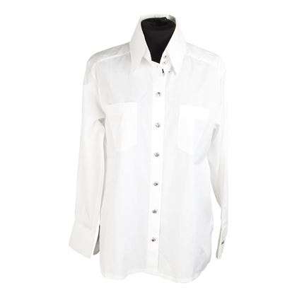 chanel-white-cotton-button-down-shirt-w-patch-pockets-size-34
