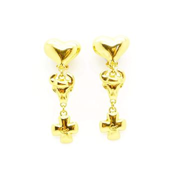 Picture of Christian Lacroix Statement Vintage Drop Dangle Heart Earrings