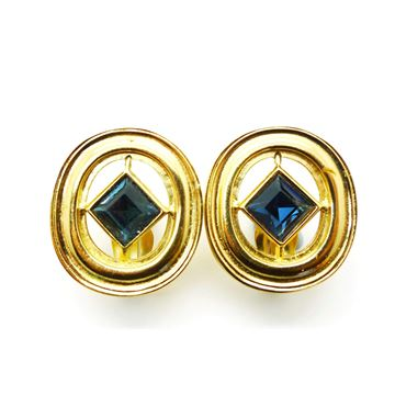 Picture of YSL Vintage Blue Crystal Oval Gold Earrings
