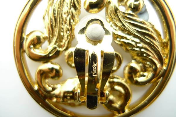 YSL Vintage Large Gold Tone Clip On Earrings