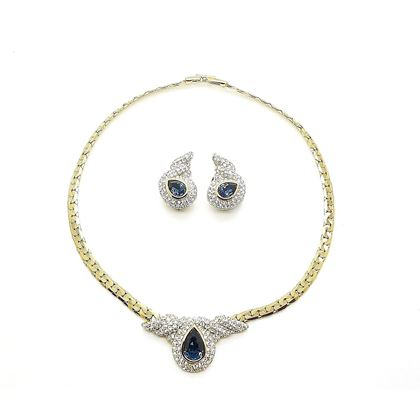 Picture of Attwood & Sawyer Vintage Swarovski Gold Plated Necklace and Earrings