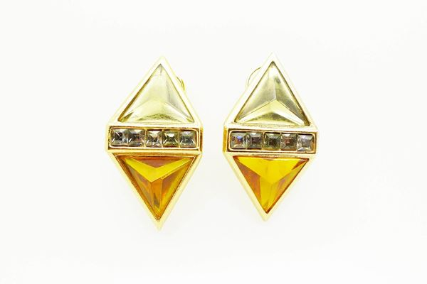 YSL Vintage Diamond Shape Clip On Earrings