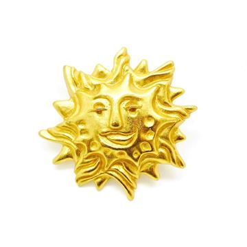 Picture of Christian Lacroix Gold Sun FAce Brooch 1980s