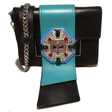 prada-black-and-teal-leather-jeweled-front-shoulder-bag-clutch