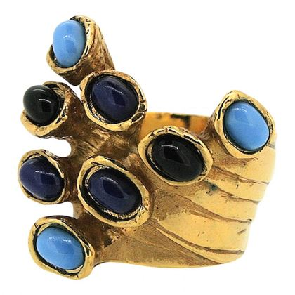 Picture of Yves Saint Laurent 1990s Vintage Blue Glass Ring