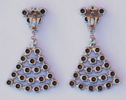 1960s Diamante Drop Statement Earrings