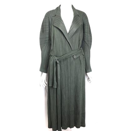 issey-miyake-pleats-please-green-pleated-long-belted-coat