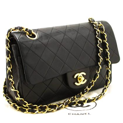 Chanel Black Quilted Lambskin Small Double Flap Chain Shoulder Bag
