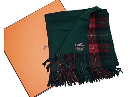 Green and Red Vintage Hermes Lambswool Plaid Scarf