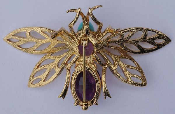 Panetta 1970s Amethyst and Turquoise Glass Bee Brooch