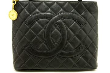 Chanel Caviar Medallion Gold HW Black Quilted Shoulder Bag
