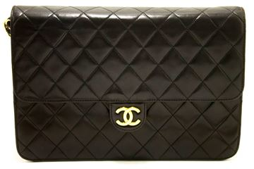 Chanel Black Quilted Flap Clutch Purse & Shoulder Bag
