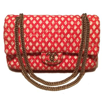 chanel-red-and-white-printed-tweed-255-double-flap-classic-shoulder-bag