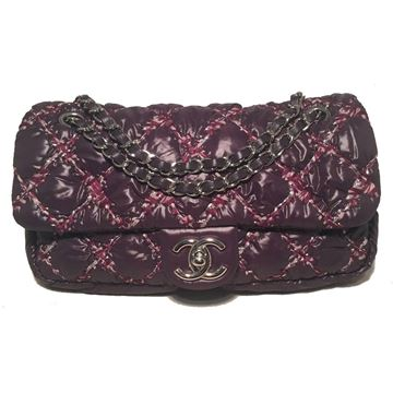 rare-chanel-plum-purple-quilted-puffy-nylon-classic-flap-shoulder-bag