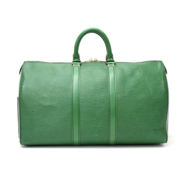 Louis Vuitton Vintage Keepall 45 Green Epi Leather Duffle Travel Bag fvbitdA