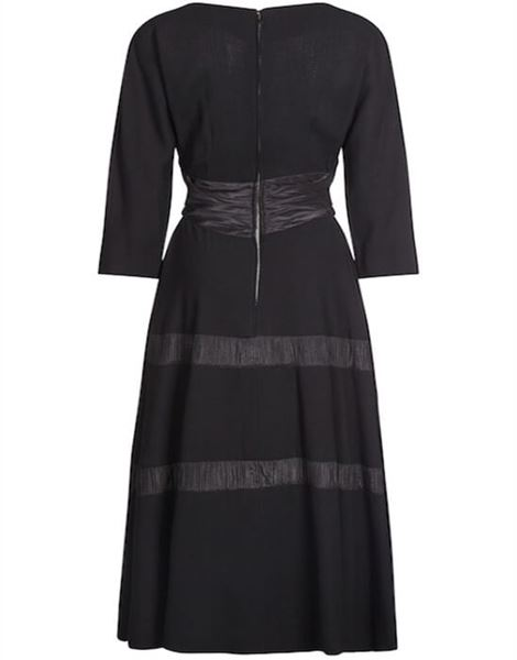 mollie-parnis-1950s-black-dress-with-pleated-ribbon-inserts