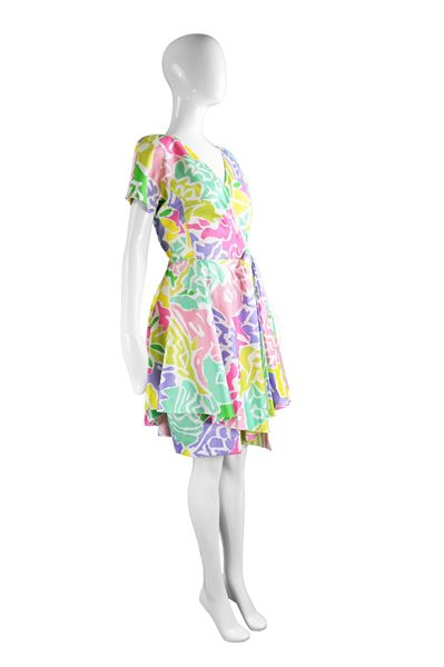 Guy Laroche 1980s Multicolored Cotton Peplum Flared Vintage Dress