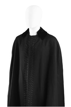 Scott Lester 1960s Black Wool Vintage Cape