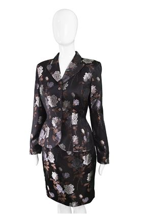 Thierry Mugler 1990s Black Satin Vintage Skirt Suit