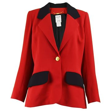 Celine 1980s Red & Black Riding Style Blazer Vintage Jacket