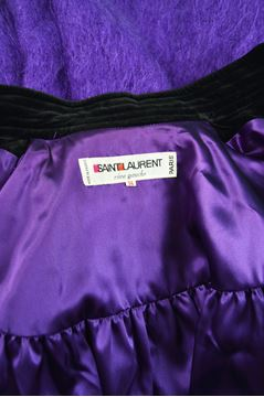 Yves Saint Laurent 1980s Purple Mohair & Velvet Vintage Coat