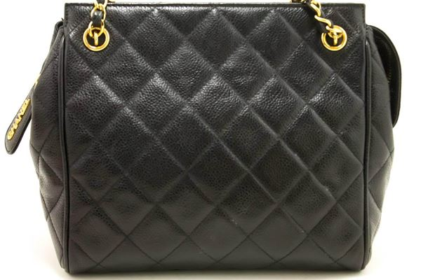 Chanel Caviar Small Chain Shoulder Bag with Quilted Zippered