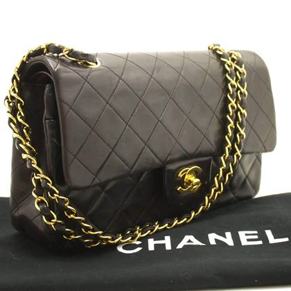 """Chanel 2.55 Black Quilted Lambskin Double Flap 10"""" Shoulder Bag"""