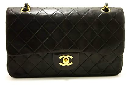 "Chanel 2.55 Black Quilted Lambskin Double Flap 10"" Shoulder Bag"