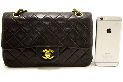 """Chanel 2.55 Black Quilted Lambskin  Double Flap 9"""" Chain Shoulder Bag"""