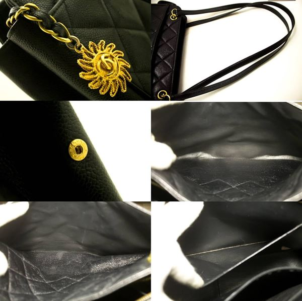 chanel-caviar-sun-charm-black-quilted-leather-zipper-shoulder-bag