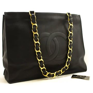 Chanel Jumbo Big Chain Black Lambskin Leather Shoulder Bag