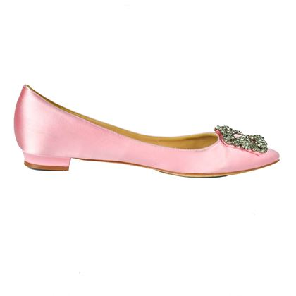 Manolo Blahnik Satin Flats With Crystal Buckle Pink 9.5  Pre-Owned Used