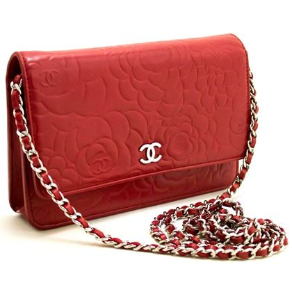 Chanel Red Camellia Wallet On Chain WOC Lambskin Shoulder Bag