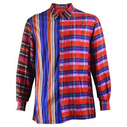 Gene Cabaleiro 1990s Silk Plaid Patchwork Vintage Shirt