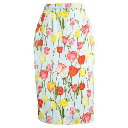 Guy Laroche 1990s Tulip Print Cotton Vintage Skirt