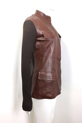 donna-karen-brown-bi-fabric-leather-and-knitted-wool-sleeves-jacket