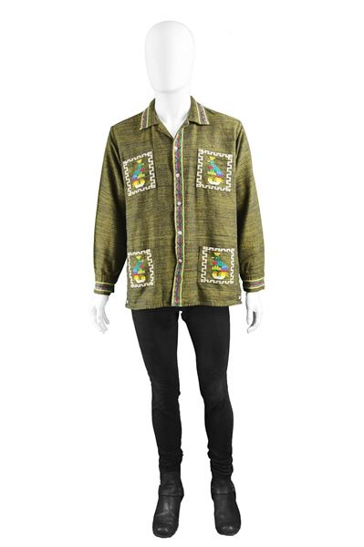 Vintage 1960s Men's Hippy Woven Cotton Shirt