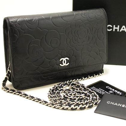 Chanel Black Camellia Wallet On Chain WOC Shoulder Bag