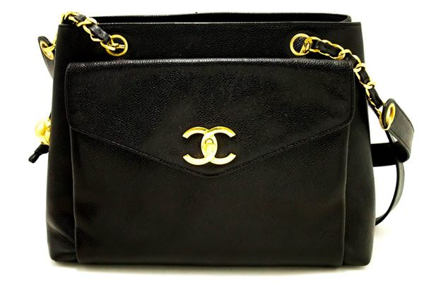 Chanel Black Leather Caviar Large Chain Shoulder Bag