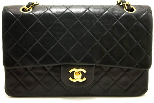 chanel-255-double-flap-medium-chain-shoulder-bag-black-quilted